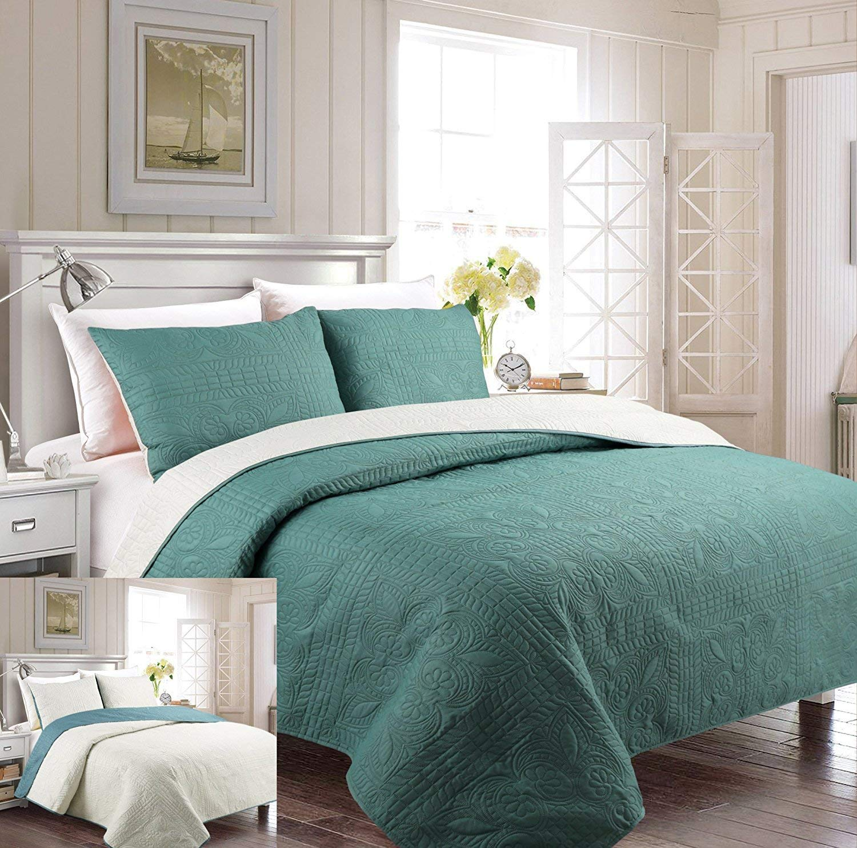 Mk Collection 4pc Full Size Reversible Coverlet Bedspread Set Alligators Light Green White Light Blue Navy Blue New