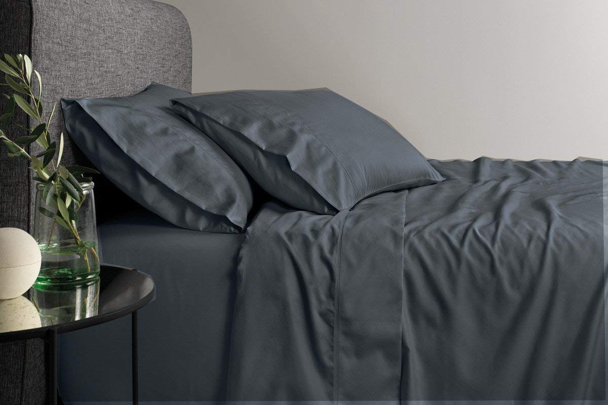 SplendidHome 400 TC Thread Count - 4 Piece Attached Waterbed Sheet Set - with Pole Attachement - California King (16 inch Deep Pocket, Dark Grey) - Hotel Quality - 100% Cotton with Sateen Weave