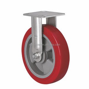 "EDL Heavy 8"" Stainless Steel Casters Wheels 450Kg Polyurethane Wheels Castors Plate Bearing Fixed Swivel Industrial for trolley"