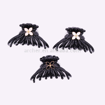 hot black color names of different metal hair clips,ladies' fancy hair claw clips ,epoxy alloy flower hair claw made in china