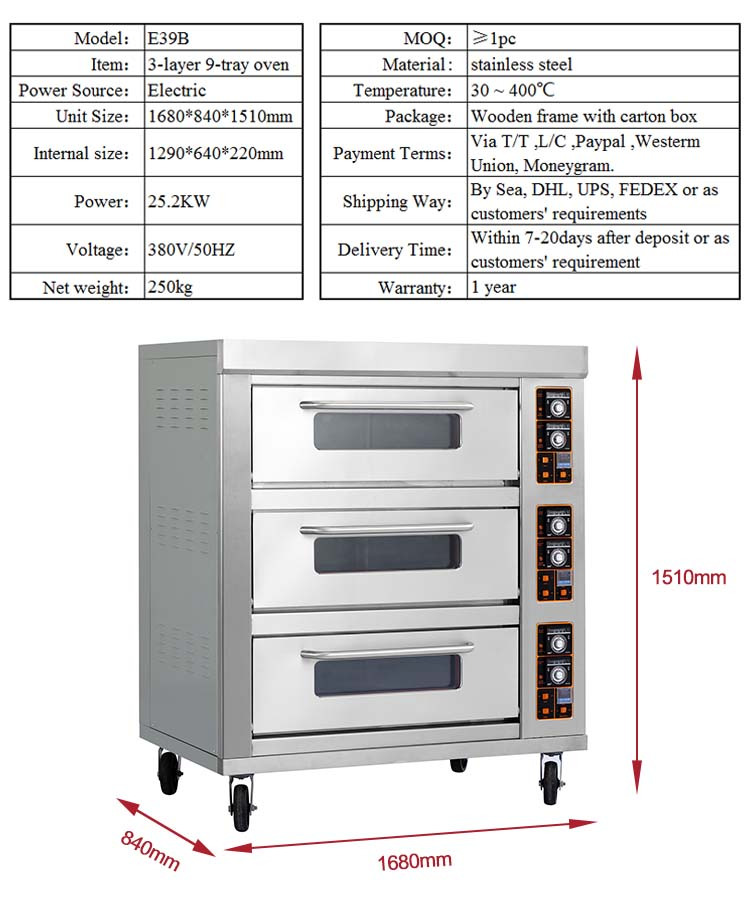 Three Deck Twelve Trayer Stainless Steel Commercial Electric Pizza Bakery Oven