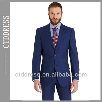 Fabric With 100s Wool Two Buttons Blue Color Notch Lapel Two