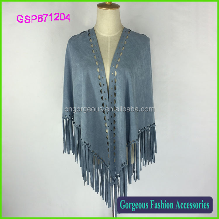 Women custom tassel faux suede pure color shawl