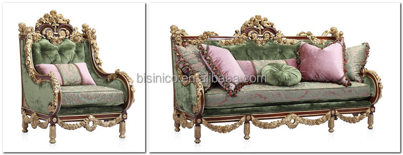Luxury gold painting sofa set classical hand carved wooden for Sofa royal classic