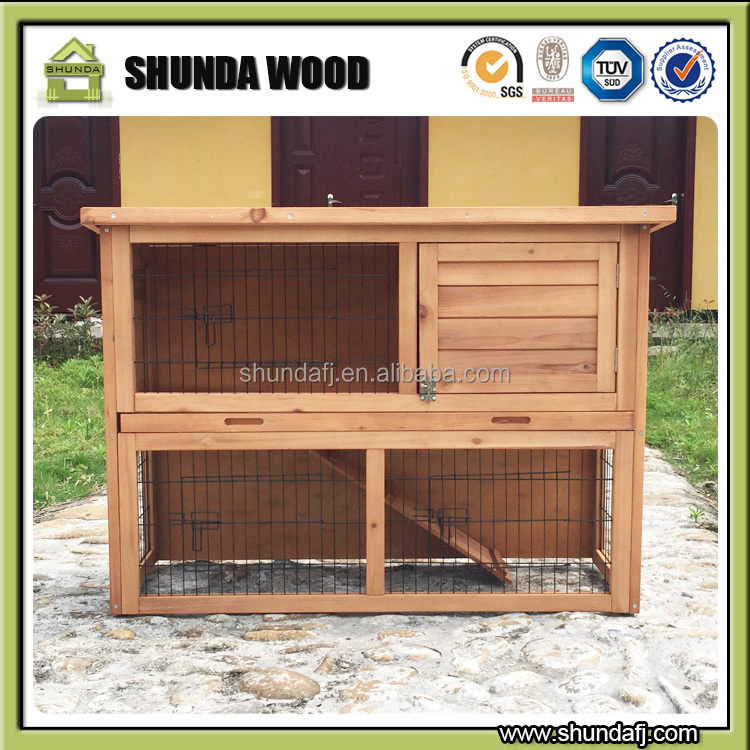 SDR01 medium timber wood <strong>rabbit</strong> hutch with sloped roof