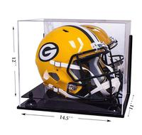 Wholesale Acrylic Football Display Case Sports Memorabilia Clear Display Case With Black Riser