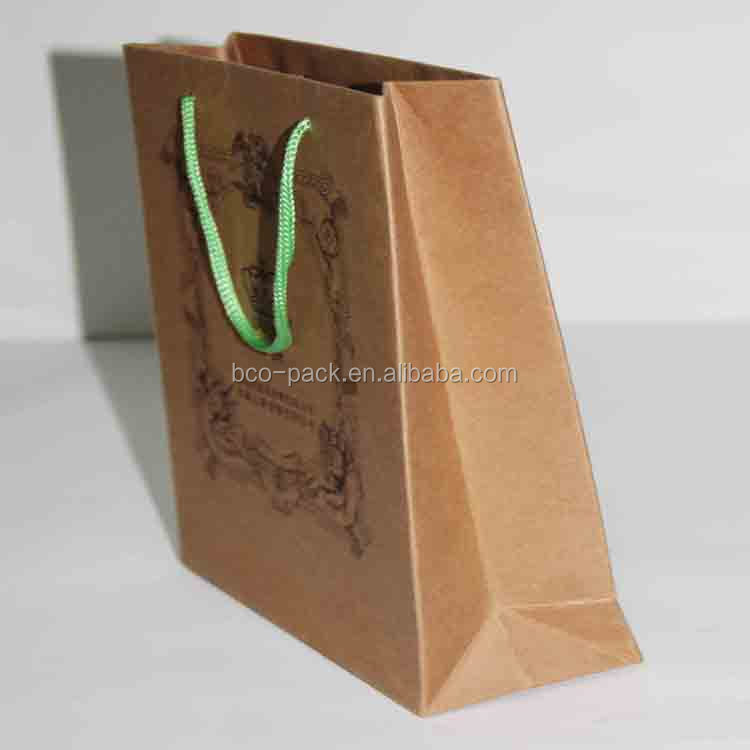 China factory custom cheap high quality Kraft paper bag with cotton handles