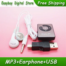 5pcs/lot New Style High Quality Mini Mirror Clip Card Reader MP3 Music Players Support Micro SD/TF Card With Earphone&MiNi USB