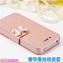 capinha de celular mobile phone bag case for iphone 4 4s to cover by funda capa para Leather Bow magnetic flip Bracket coque