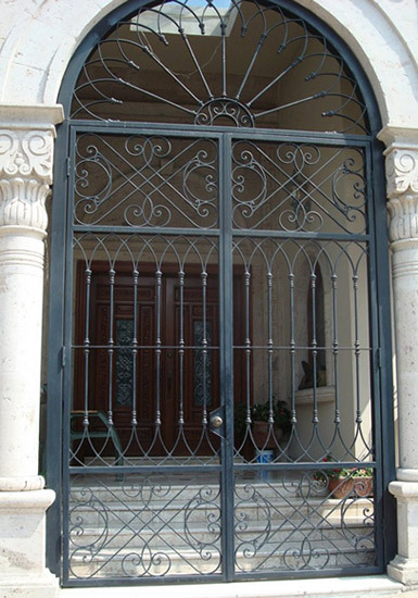 Wrought Iron Entry Front Door Custom Metal Door Exterior Forged ...