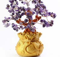 Purple amethyst money tree lucky crystal money tree