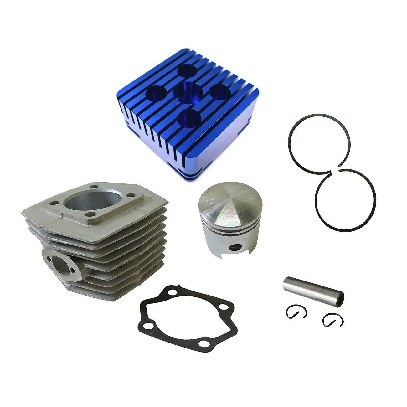 JRL CNC Blue Cylinder Head&Cylinder&Piston For 80cc Engine Motorized Bike