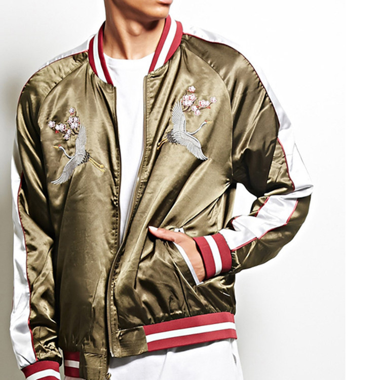 Chinese Clothing Manufacturers Mens100% Polyester Logo Embroidered Satin Bomber Jacket