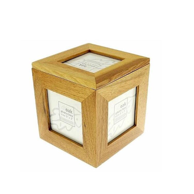 Benutzerdefinierte Logo Eiche Holzwürfel Foto Box Bilderrahmen Box ...