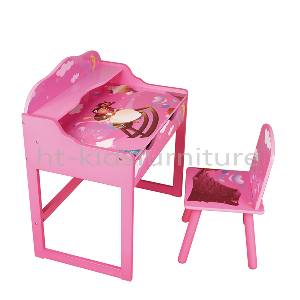 Ordinaire HT PR008 64x40x70cm E1 MDF Easy Assembly Princess Style Kids Study Table  With Chair, Girls Wooden Table
