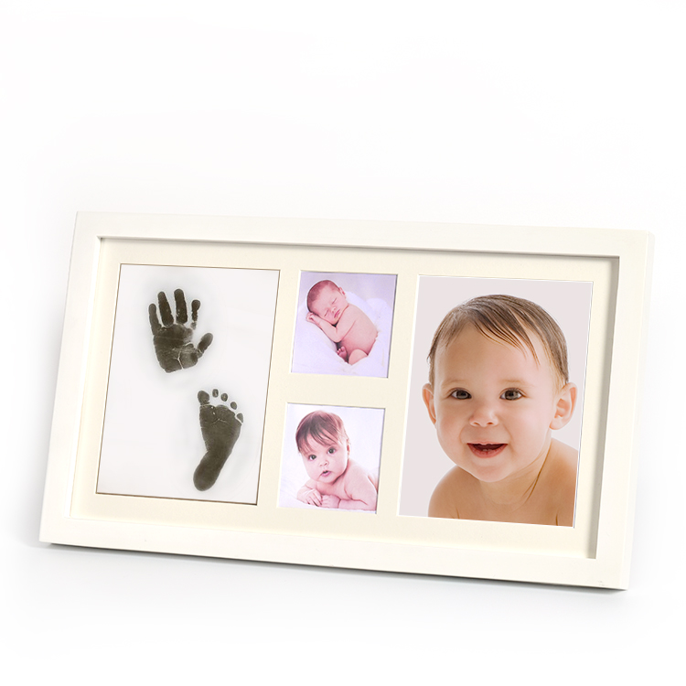 Beautiful DIY Baby Handprint Footprint Wooden Photo Frame for Bedroom Decoration