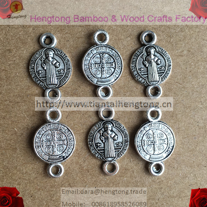 2 hole religious rosary connector, Saint Benedict connecting beads for religious rosary