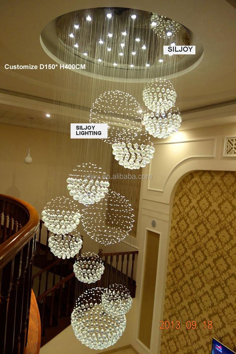 moderne contemporain de luxe rond grand 11 sph re rain drop clair led lustre en cristal pour. Black Bedroom Furniture Sets. Home Design Ideas
