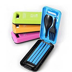 Portable folding fork spoon fork chopsticks portable outdoor picnic cutlery sets three-piece travel cutlery
