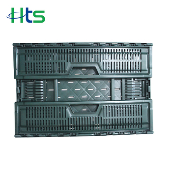 Recyclable vented folding plastic mesh crates for fruit vegetable