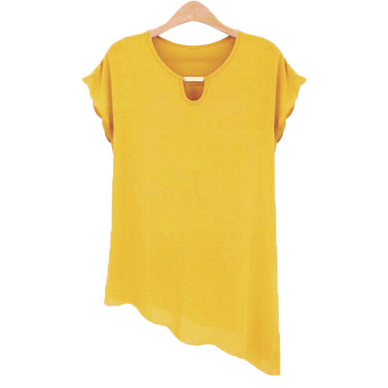 2015 Fashion Women Long Blouse Chiffon Ruffles Short Sleeve Summer Tops Plus size Irregular Shirt  Women Blouses 5 Colors M-XXL