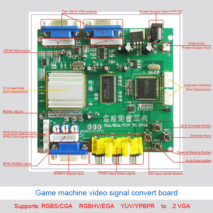 GBS-8220 Arcade Video Converter EGA CGA/RGBH to VGA converter board with 2 out put for arcade game machine