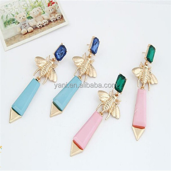 Resin Arrow charming earring factory china direct wholesale gold moroccan wedding jewelry ladies long earrings