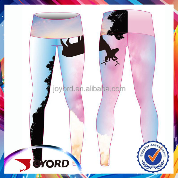 Trade Assurance Polyester with Spandex Sublimation Print Professional Sports Yoga Leggings