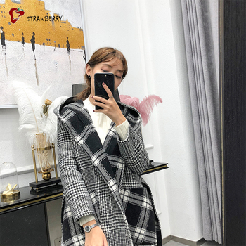 Russian Women Style Plaid Cashmere Coat Winter Coat