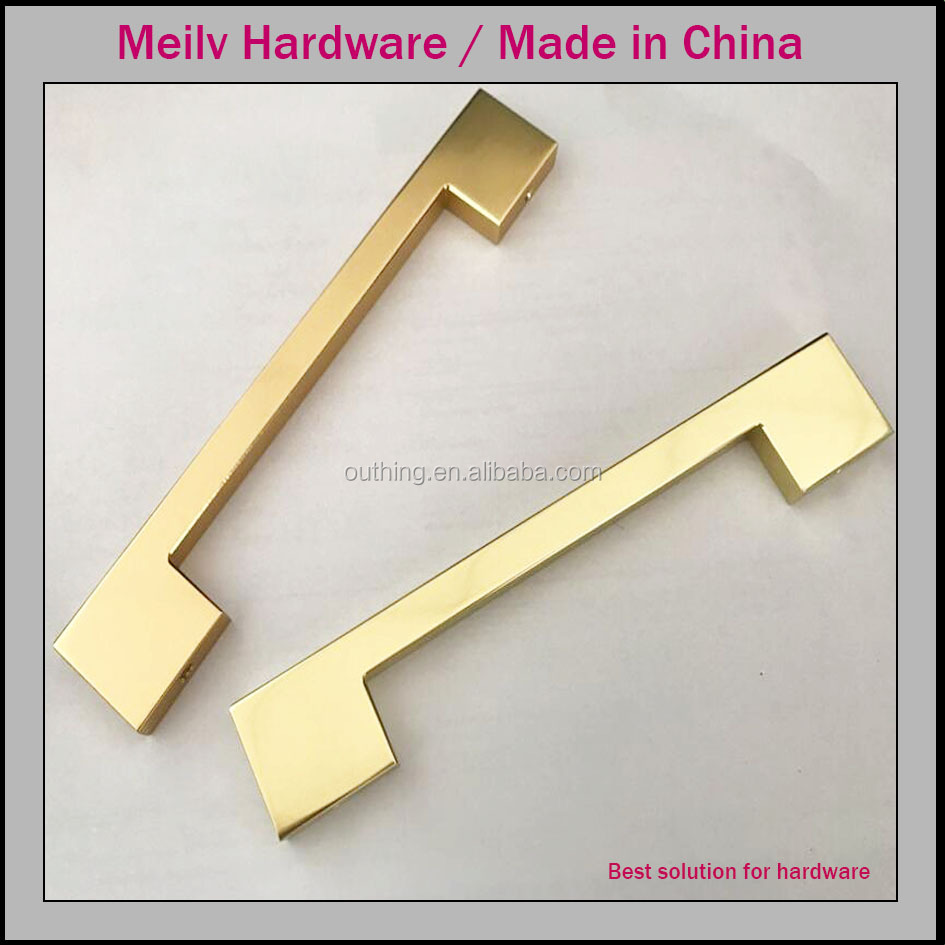 Made in Foshan CNC handle square wardrobe design brass golden drawer pull