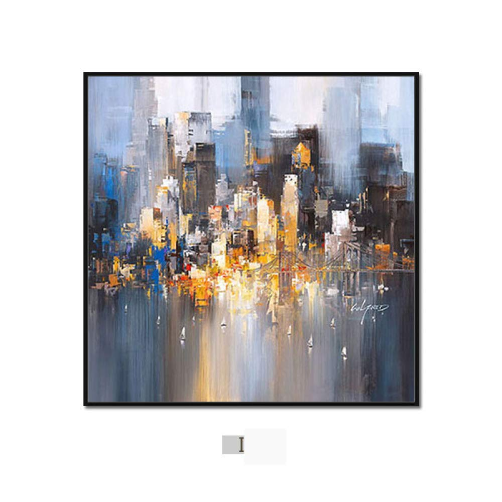 DEED Modern minimalist abstract city painting, triple living room sofa background wall decoration painting, dining room bedroom wall painting