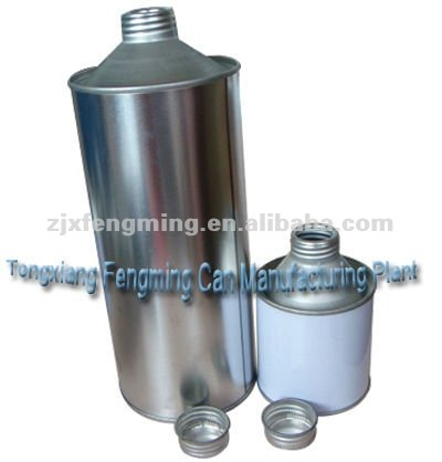 screw top pvc tin can, cleaning brake fluid can, flammable oil tin can