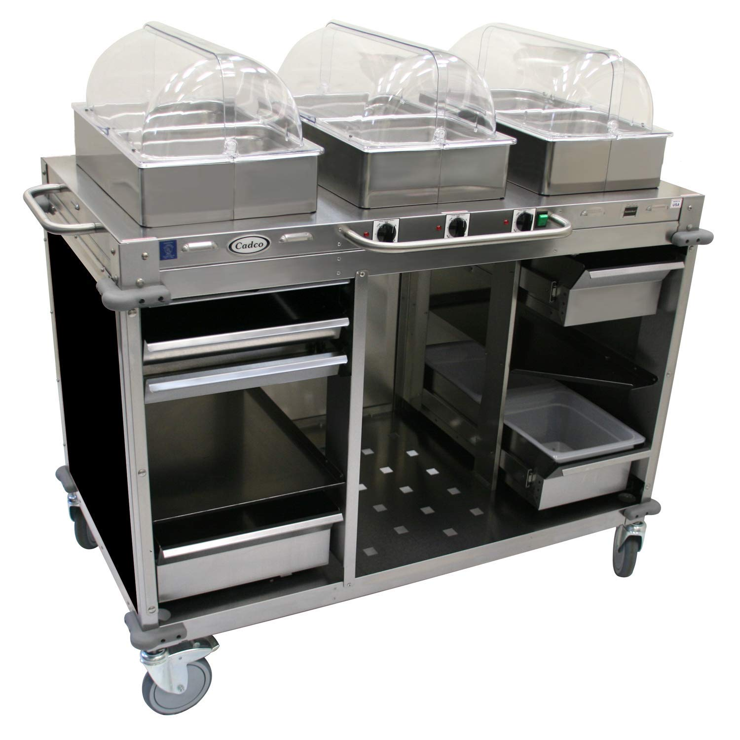 "Mobile Hot Buffet Cart Color: Black, Size: 51"" H x 55.5"" W x 28.75"" D"