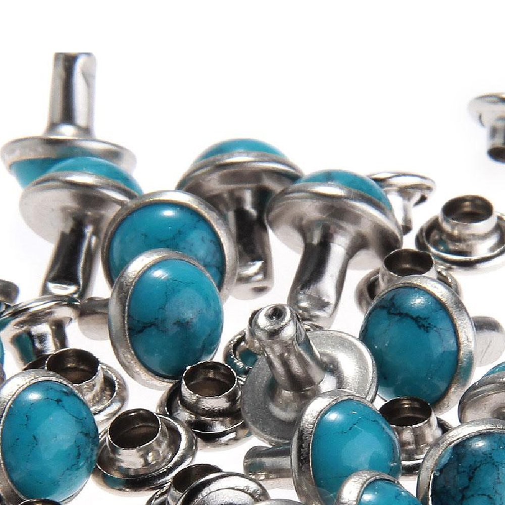 100pcs 10mm Blue Turquoise Rapid Rivet Studs for Leather Belt Craft Fitting