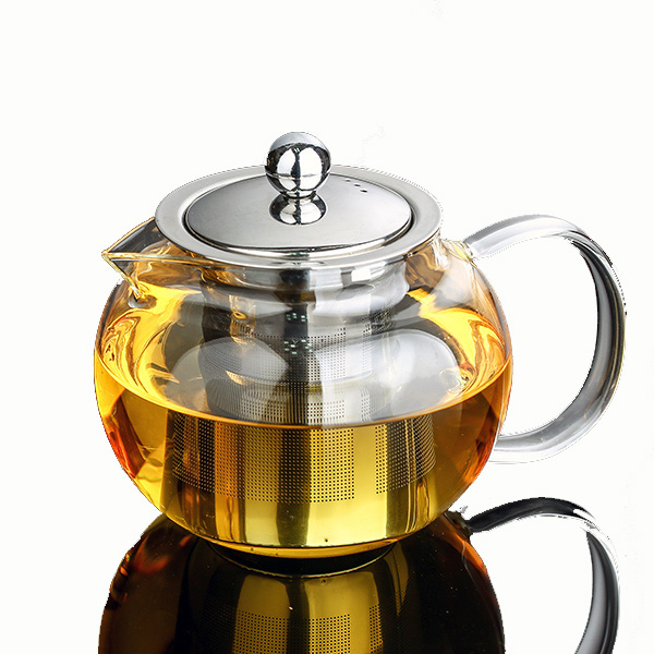 800ml Promotional Gift Eco-Friendly Removable Stainless Steel Strainer Borosilicate Glass Teapot