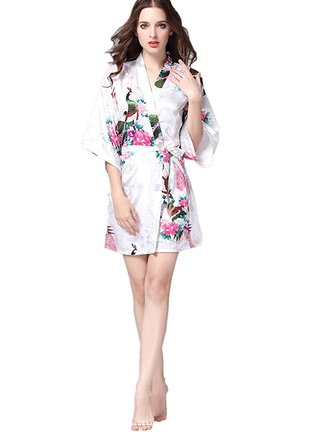 27b3117fba Get Quotations · Juelian Women s Printing Peacock Kimono Robe Short Sleeve  Silk Nightgown For Wedding Party