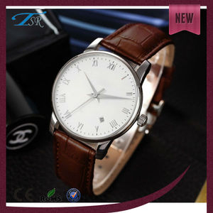 fashion smart watch vintage leather stainless steel watch men