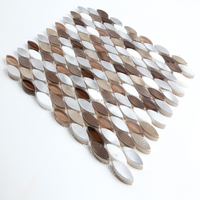 Small Leaf Shaped Aluminum mix Marble and Glass Mosaic tiles for Decoration