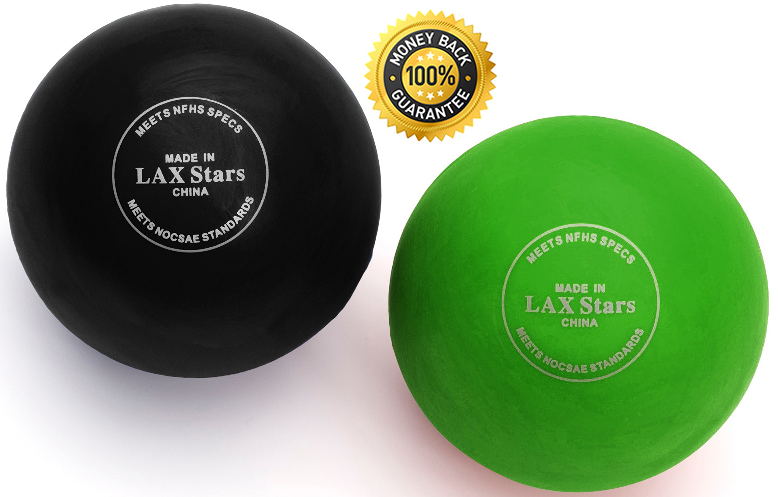 LAX Stars Lacrosse Balls By Myofascial Tension Release, Fascia Release, Massage Balls for Foot, Massage Balls for Back, Trigger Point Therapy Balls, Muscle Knots, Yoga, Pack of 2 Balls