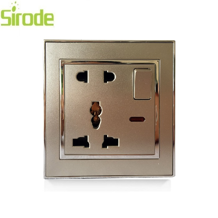 High Quality 1 Gang 5pin multi function UK Power Wall Plate Socket Outlets
