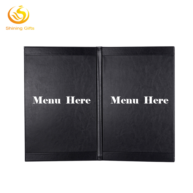 Black Color Menu Covers Leather Cheap Price 2 Views Faux Leather Menu Covers