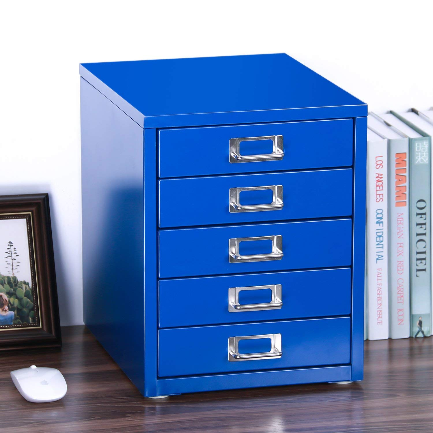 "Z PLINRISE Office File Cabinets 5-Drawer - Size: 13.8"" x 13.8"" x 11"" Metal Filing Cabinet Organizer for Craft/Document, Lateral File Cabinets 14 inch Height (Blue)"