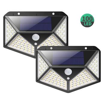 Waterproof security solar lights outdoor, 100 LED wireless solar motion sensor lights for garden, wall, patio