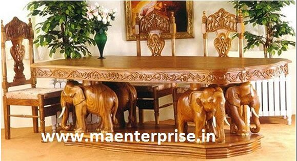 Good Elephan Theme Wooden Hand Carved Dining Table