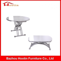 Hot Sale Modern Extendable Square Wooden Foldable Expanding Table Glossy Round Tables Dining Room