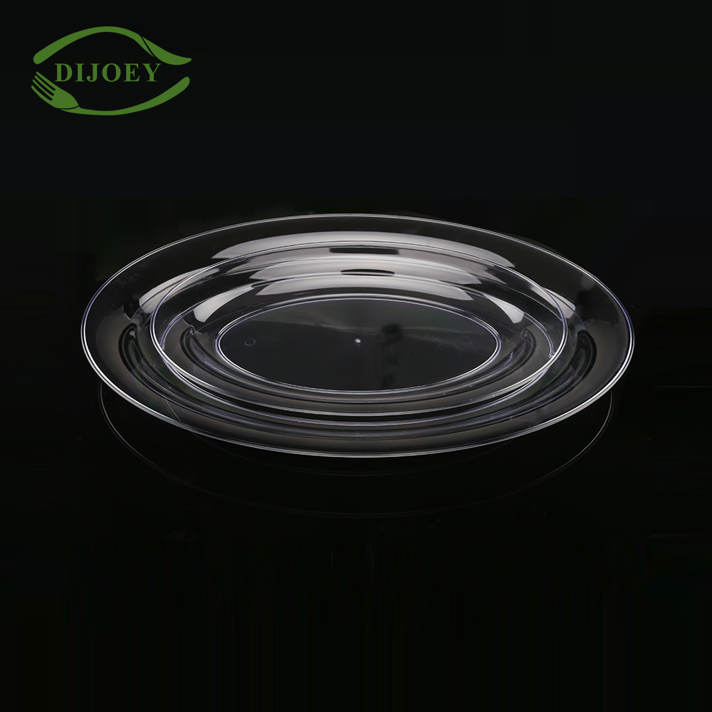 High quality wholesale cheap transparent oval disposable plastic snacks serving tray