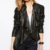 New Style black coat womens girls leather jacket long jackets for women