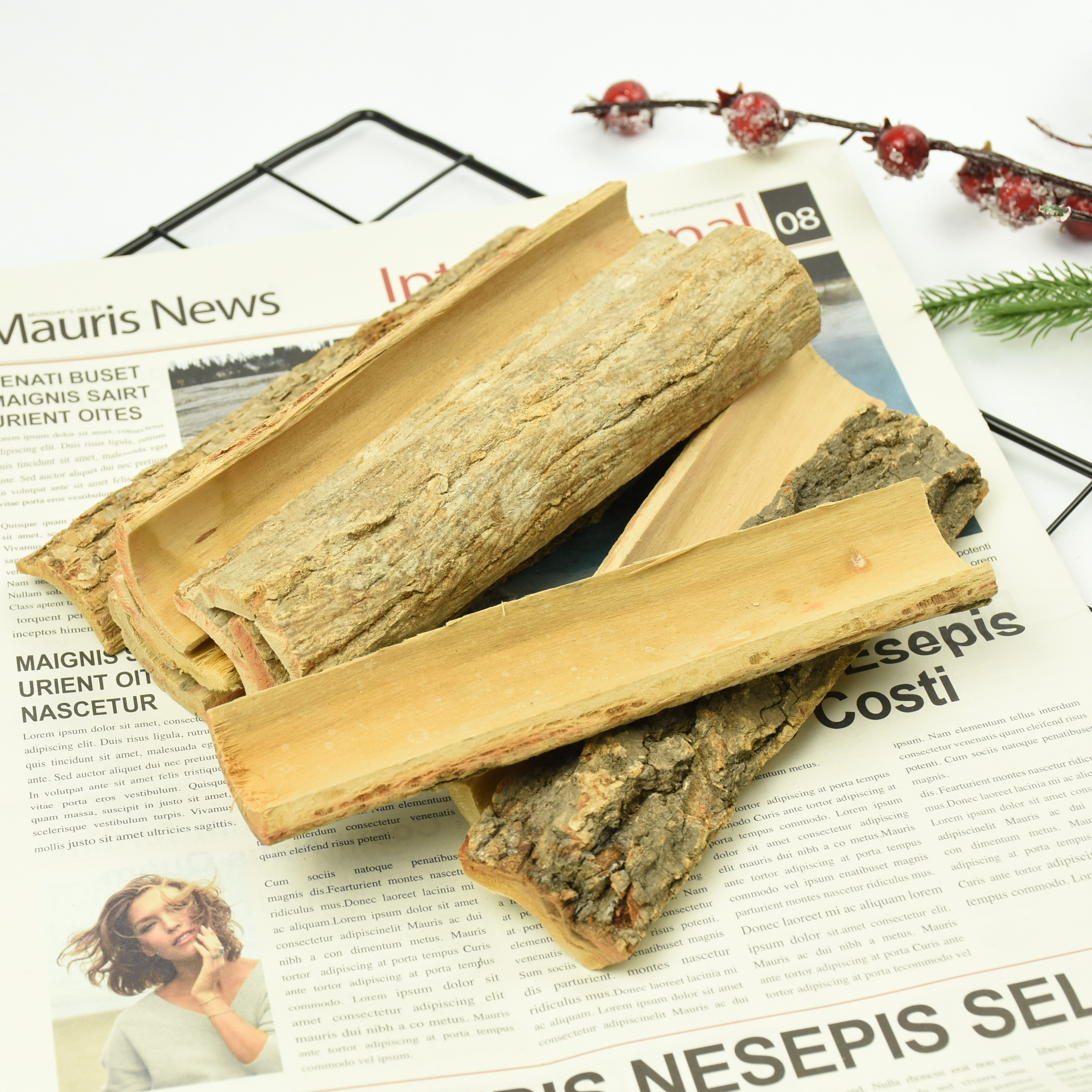 BSCI FSC Gifts Craft for gardening natural basswood Christmas fire <strong>wood</strong> crafts tree bark decoration