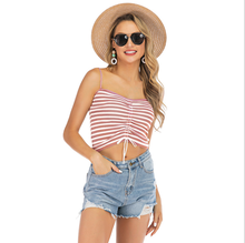Sommer <span class=keywords><strong>sexy</strong></span> sleeveless gefaltetes leibchen <span class=keywords><strong>streifen</strong></span> gedruckt weste crop top