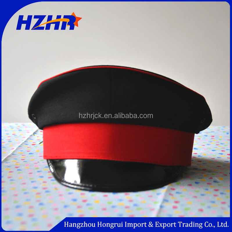Cheap Black Security Guard Cap   Military officer hat with ribbon cover    kids police hats 30ba6bdcc07